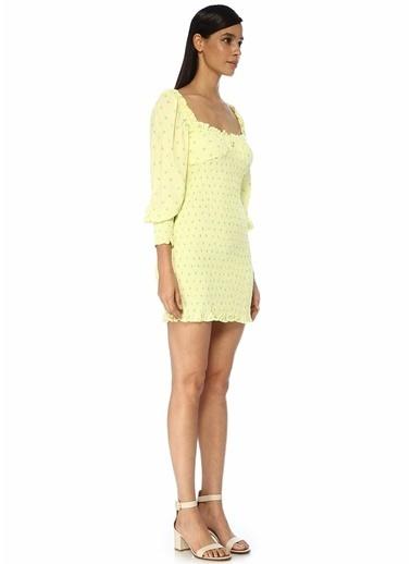 Faithfull The Brand Faithfull The Brand Viskon Kalp Yaka Balon Kollu Fırfırlı Mini Boy Renk Kadın Elbise Sarı